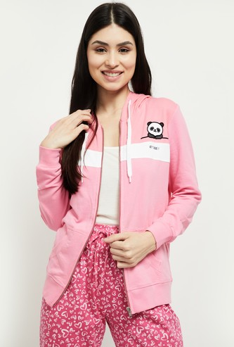 MAX Striped Full Sleeves Lounge Hooded Jacket