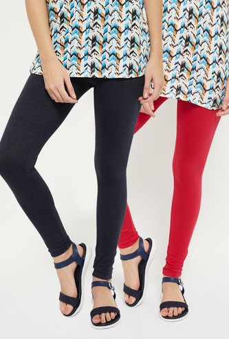MAX Solid Elasticated Leggings - Set of 2 Pcs