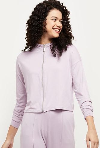 MAX Solid Zip-Up Mock Collar Sweatshirt