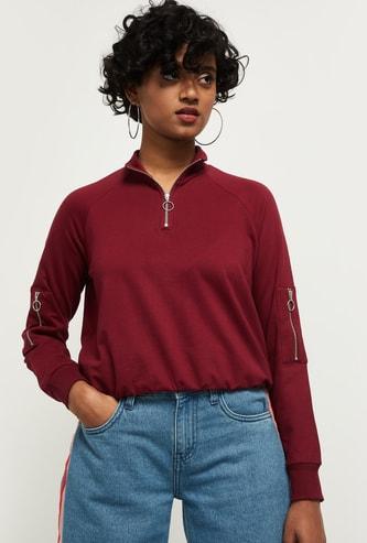 MAX Solid High-Neck Sweatshirt