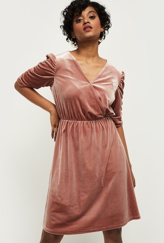 MAX Solid Surplice Neck A-Line Dress