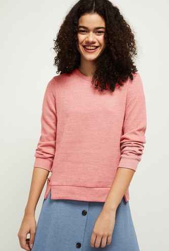 MAX Solid Round Neck Knit Top