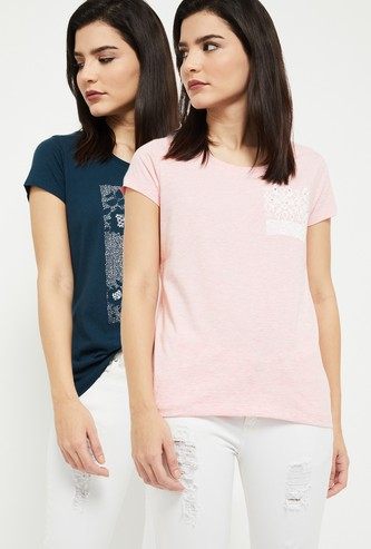 MAX Printed Round Neck T-shirt- Pack of 2