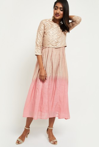 MAX Printed Midi Dress with Sheen Top