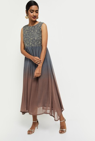 MAX Embroidered Round Neck Empire Dress