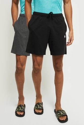 MAX Solid Drawstring Waist Lounge Shorts- Pack of 2