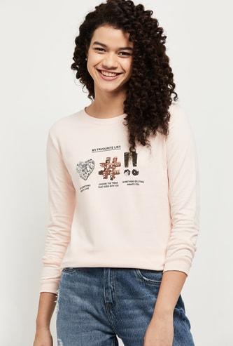 MAX Sequinned Round Neck Sweatshirt