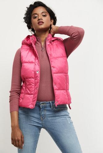 MAX Solid Sleeveless Puffer Jacket