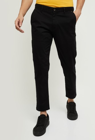MAX Solid Flat Front Casual Trousers