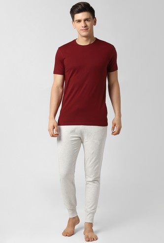 PETER ENGLAND Solid Lounge T-shirt and Joggers Set