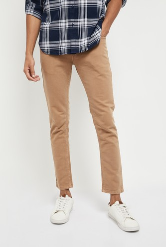 MAX Solid Skinny Fit Washed Coloured Jeans