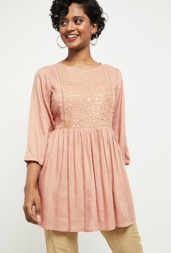 MAX Embroidered Round Neck Tunic