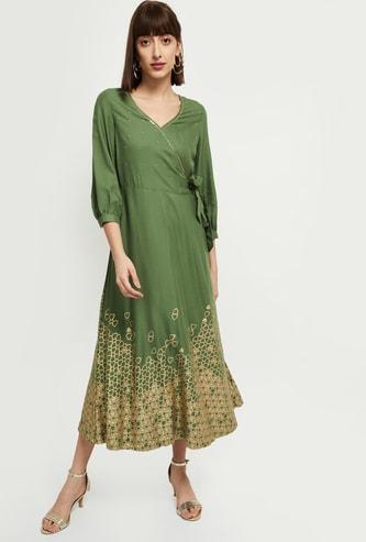 MAX Printed Ethnic Wrap Midi Dress