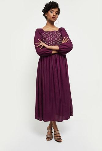 MAX Embroidered Square Neck Ethnic Midi dress