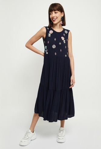 MAX Embroidered Fusion A-Line Dress