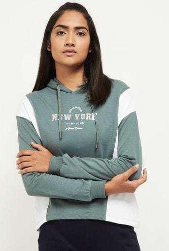 MAX Printed Cut and Sew Hooded Sweatshirt