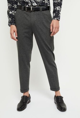MAX Solid Carrot Fit Formal Trousers