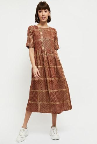 MAX Printed Round Neck A-line Dress