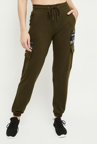 MAX Appliqued Drawstring Waist Joggers With Cargo Pockets