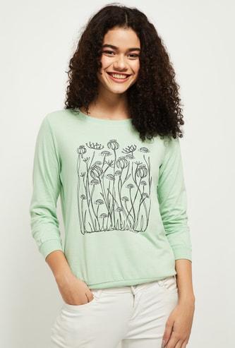 MAX Printed Crew Neck Full Sleeves Sweatshirt