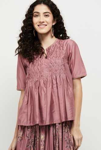 MAX Textured Short Sleeves Ethnic Top