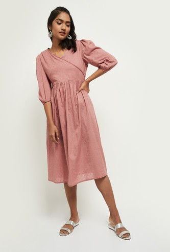 MAX Textured  Fusion A-Line Dress