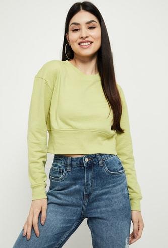 MAX Solid Cropped Sweatshirt