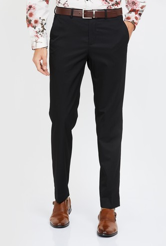 CODE Solid Slim Fit Flat Front Formal Trousers