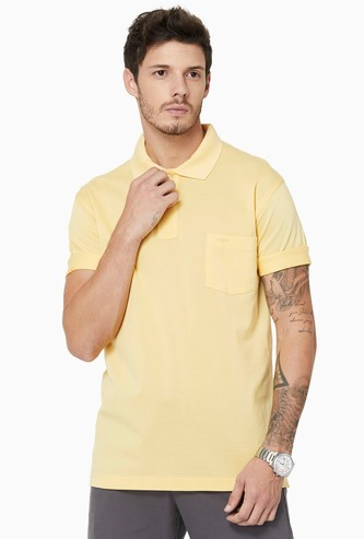 COLORPLUS Regular Fit Patch Pocket Solid Polo T-shirt