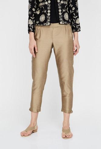 MELANGE Solid Cropped Ethnic Pants