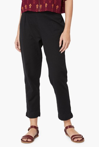 MELANGE Solid Ankle-Length Pants
