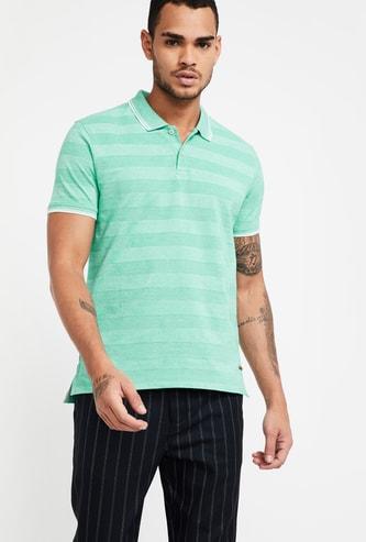 CODE Striped Regular Fit Polo Collar T-shirt