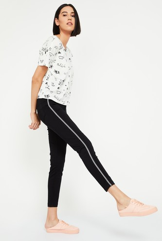 XPOSE Solid Panelled Skinny Fit Trousers