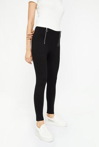 GINGER Solid Skinny Treggings with Zip Closure
