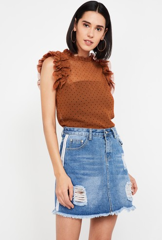 GINGER Printed Ruffled Sleeves Regular Fit Top