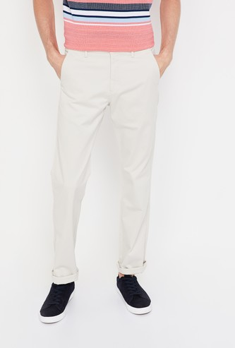 ALLEN SOLLY Solid Regular Fit Flat-Front Chinos