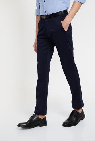 V DOT Solid Slim Fit Formal Trousers