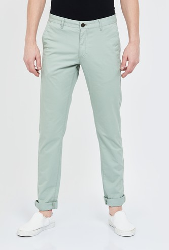 INDIAN TERRAIN Solid Slim Fit Chinos