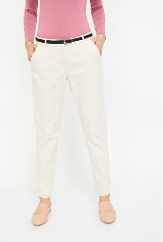 VERO MODA Cropped Flat-Front Trousers with Belt