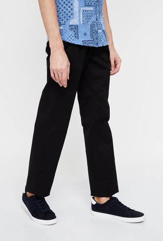 ALLEN SOLLY Solid Low Rise Regular Fit Trousers
