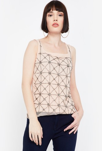 CODE Embellished Regular Fit Sleeveless Top