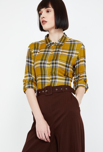 FAME FOREVER Roll-Up Sleeves Checked Regular Fit Shirt