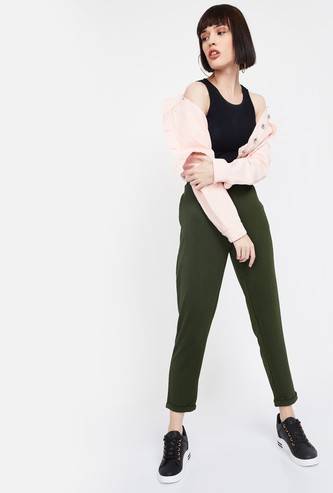 BOSSINI Solid Regular Fit Cropped Trousers