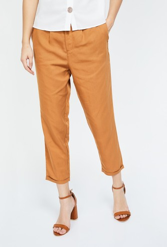 BOSSINI Solid Regular Fit Ankle-Length Trousers