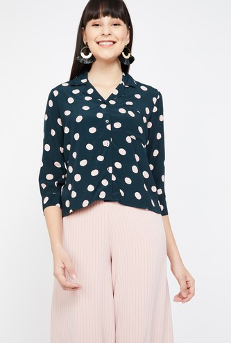 BOSSINI Polka Dot Print Regular Fit Cropped Shirt