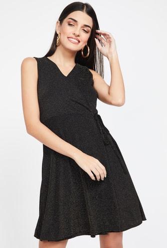 GINGER Shimmer Tie-Up Surplice Neck A-line Dress