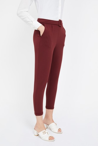 GINGER Solid Regular Fit Cropped Trousers with Belt