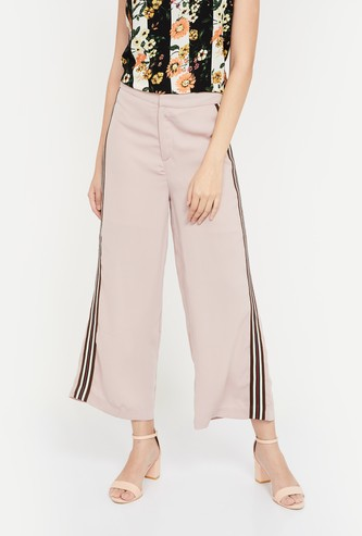 CODE Solid Flared Pants with Contrast Taping