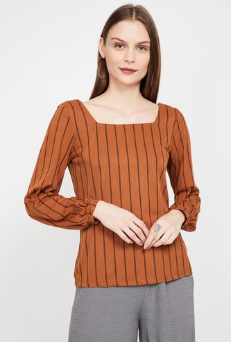 CODE Striped Regular Fit Square Neck Top