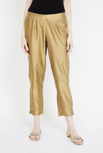 MELANGE Printed Slim Fit Cropped Pants